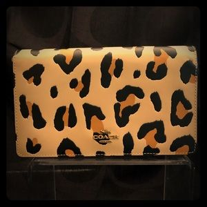 Coach- Leather Leopard Foldover Clutch/crossbody
